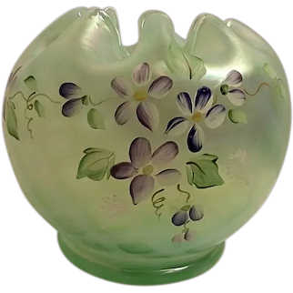 Fenton Hand Painted Willow Green Opalescent Optic Rose Bowl W/Box