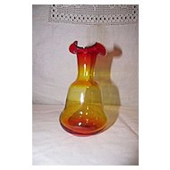 Hand Blown Amberina Glass Vase