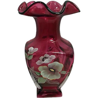 Fenton Hand Painted Cased Cranberry Square Glass Vase Signed