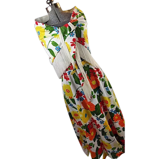 Genuine 1960s Womens Maxi Dress Matching Large Shawl With Fringe M 12