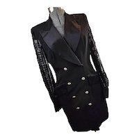Vintage Escada Couture Womens Silk Black Coat Dress Tuxedo Evening