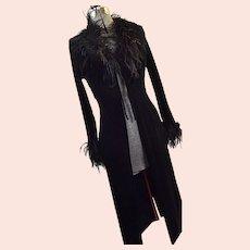 GLAMOROUS Womens Black Long Velveteen Dressing Gown Robe Marabou Feathers