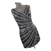Scala Womens Sequin Beaded Mini Dress Black