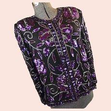 Vintage Laurence Kazar Womens Evening Jacket Black Purple Sequins Beaded