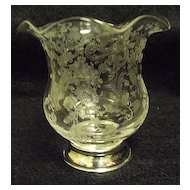 Cambridge Chantilly Etched Cigarette Urn Sterling Base
