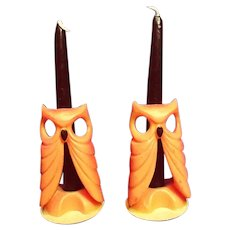 Pair of Vintage Gurley Owl Halloween Candles Unburned
