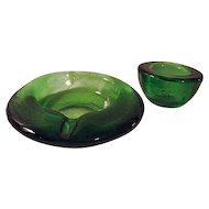 Mid Century Textured Glass Cigar Ashtray Match Holder Smoking Set Green