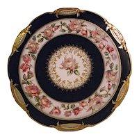 Lovely Haviland Co Limoges France Cabinet Plate Cobalt Yellow Pink Roses Gold