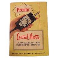 1960 Presto Control Master Appliances Recipe Book Cookbook