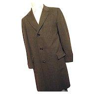 Vintage 1950's Hickey Freeman 100% Wool Dk Gray Pin Stripe Overcoat Top Coat