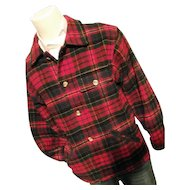 Vintage 1970's Eddie Bauer Mens Red Tartan Plaid Wool Bld Shirt Jacket Sm
