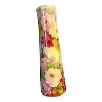 """GORGEOUS Hand Painted Fine Porcelain 10"""" Flower Vase Pink Roses Signed Lyness 20th Century"""