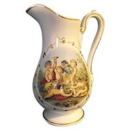 Vintage Ironstone Pitcher With Cupids Greek Children Gold Hearts
