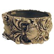 LOVELY Vintage Whiting & Davis Silver Wide Clamper Bangle Bracelet Baroque