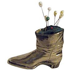 Vintage Jennings Brothers Silver Tone Pin Cushion Boot Shoe