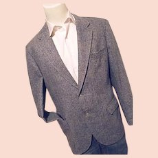 Vintage Custom Tailored Blue Herringbone Tweed Wool Blazer Sport Coat 42L