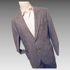 Vintage Custom Tailored Blue Herringbone Tweed Wool Blazer Sport Coat 42L
