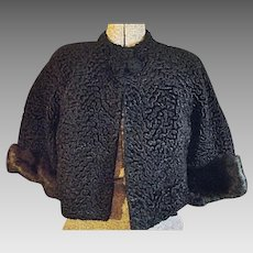Vintage Faux Black Curly Persian Lamb With Mink Cuffs Stroller Coat Jacket Small