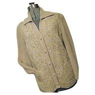 NICE Vintage Freedom Wear Irish Tweed Womens Oatmeal 100% Wool Tweed & Knit Jacket Medium