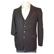 Vintage Fitzgerald Mens Dark Brown Pin Stripe Wool Suit Jacket Vest Pants