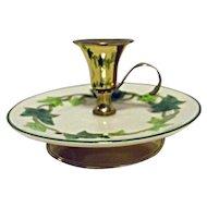 RARE Vintage Franciscan Ivy USA Finger Hold Candle Holder Candleholder Brass