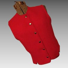 EXCELLENT Geiger Tyrol Womens Red 100% Boiled Wool Vest Austria 42 Med