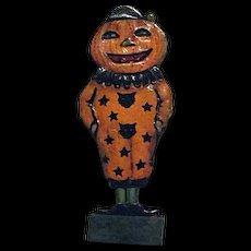 RARE Vintage 1920s German Skittle Game Piece Boy Pumpkin Head Clown
