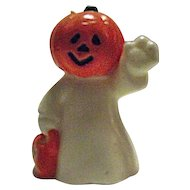 RARE Vintage Halloween Candle JOL Pumpkin Head Ghost Trick or Treat Jack-O-Lantern 2