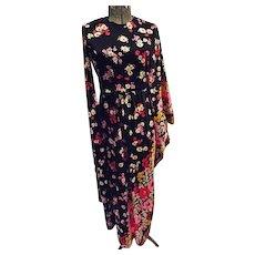 AVANT GARDE Vintage 1960s Lilli Diamond California Womens Maxi Dress Caftan Combo S M