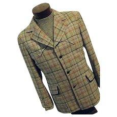 ROCKABILLY Vintage Pendleton Wool Mens Black Plaid Western Blazer Jacket Med