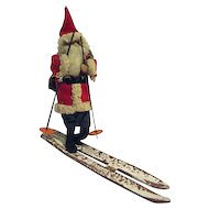 Vintage Spun Cotton Skiing Santa Claus Japan Celluloid Face