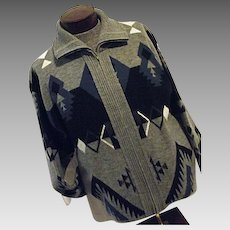 Vintage Towncraft Mens Cardigan Sweater Acyrlic Lg Southwestern Pattern Gray
