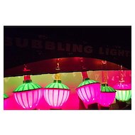 Vintage BUBBLING BUBBLE LIGHTS 7 Light Set in Box Christmas Tree