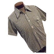 Vintage NOS Deadstock Norgate Norsheen Mens Green Checkered Shirt Lg