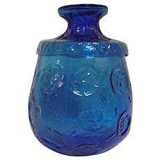 FANTASTIC Mid Century Modern Blue Glass Covered Jar Dimpled Textured
