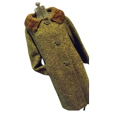 NICE Vintage 1960s Womens Botany Green Wool Boucle Coat Real Mink Fur Collar Lg
