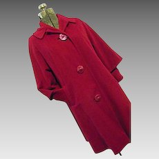 Vintage MADMEN 1950s Mary Lane Womens Fushia Coat 100% Wool Double Sleeve Medium