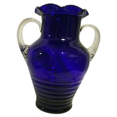 DEPRESSION Louie Glass Large Cobalt Blue Vase Urn Applied Handles West Virginia