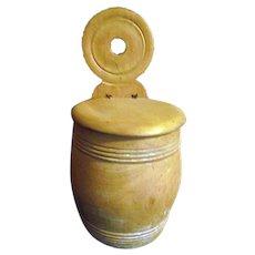 Vintage Primitive Wood Hanging Salt Box Bullseye Style Hanger Barrel Form Spice