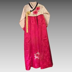 BEAUTIFUL Hanbok Traditional Korean Dress Womens Pink Ivory Applied Flowers Small