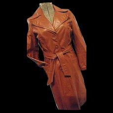 HIPPIE BOHO Vintage 1970s Womens Lesoleil Long Leather Trench Coat 7/8 Sm Peak Lapel