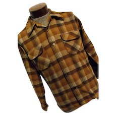Vintage 1960s Pendleton Woolen Mills Mens Brown Wool Plaid Flannel Board Shirt