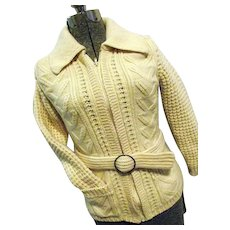 Vintage Purple Heather Handloomed Wool Cardigan Sweater Moriarty Textiles Ireland Sm