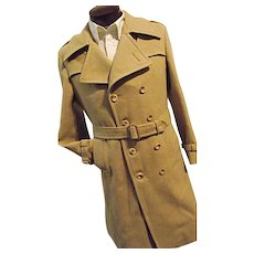 ATOMIC Vintage Mac-Mor Weatherman Mens Wool Long Trench Coat Dbl Breasted M 40
