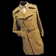 ATOMIC Vintage Mac-Mor Weatherman Mens Wool Long Trench Coat Dbl Breasted M 40