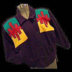 RETRO 1980s Cindy Owens Designs Womens Wool Bld Purple Bomber Jacket Sm