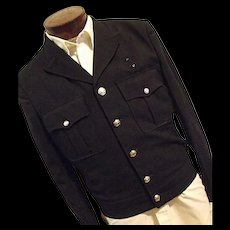 Vintage 1930s Fechheimer Mens Gabardine Fire Dept Dress Jacket Med Lg