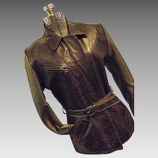 COUTURE Vent Couvert Paris Womens Distressed Leather & Nylon Jacket Coat XL Med