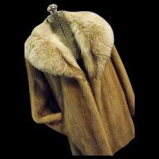 Vintage Marcroft Furs Womens Blonde Mink and Silver Fox Fur Coat Wrap M