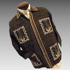 Vintage LA ORIGINAL Guatamalan Mens Cotton Shirt Jacket Lg 17 Embroidered Black